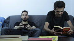 Lazy College Boys Playing On Smartphone, Procrastination, Playing Hookey, Front Stock Footage