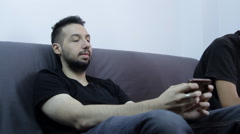 Lazy College Boys Playing On Smartphone, Procrastination, Playing Hookey, Pan Stock Footage
