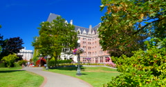 4K Downtown Gardens, Trees, Empress Hotel Stock Footage