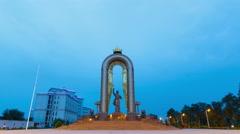 Statue of Somoni at dawn. Dushanbe, Tajikistan. 4K Stock Footage