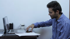Student Working In Internship, Talking On The Phone And Taking Notes, Close Up - stock footage