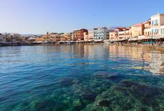 clear water of Chania habour, Crete, Greece - stock photo