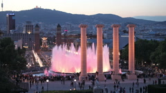 Magic Fountain in Barcelona in the Evening Stock Footage