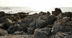 4K Monteray 17 Miles Drive 04 Rocky shore in Sunset California Stock Footage