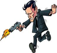 Cartoon spy running with his gun Stock Illustration