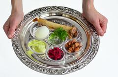 Passover seder plate Stock Photos