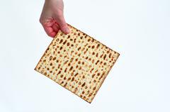 matza - passover jewish holiday - stock photo
