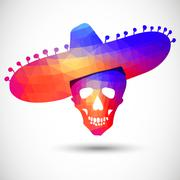 Colorful geometric skull in sombrero Stock Illustration