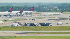 ATL Airport Runways, Taxiways and Terminal Platforms Stock Footage