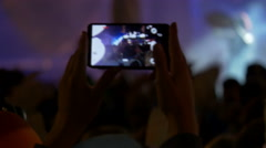 4K making video with cell phone at live music concert, festival Stock Footage