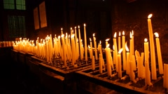 Candles in a church Stock Footage