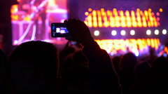 4K making video with cell phone at live music concert, festival - stock footage