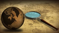 Vintage Rotating Globe And Map Of The World with magnifying glass Stock Footage