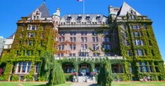 4K Fairmont Empress Hotel, Static WIde Angle Shot Stock Footage