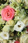 Pink and white bridal arrangement Stock Photos