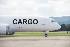 Cargo plane on the runway Stock Photos