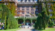 Stock Video Footage of 4K Empress Hotel Facade and Signage, Tilt Shot, Victoria Canada