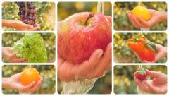 Diverse fruits and vegetables under pouring water montage Stock Footage