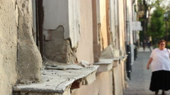 Damaged Windows Sills Stock Footage