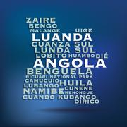 angola map made with name of cities - stock illustration