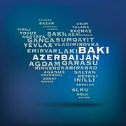 Azerbaijan map made with name of cities Stock Illustration