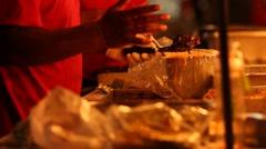 Stock Video Footage of Street Food Vendor Working