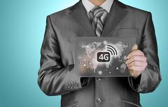 Businessman pushing 4g Stock Illustration