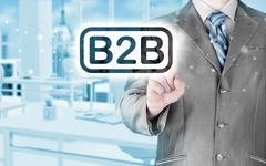 Businessman pointing to word b2b Stock Illustration