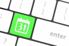 calendar icon on computer keyboard - stock illustration