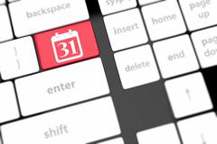 calendar icon on computer keyboard - stock illustration