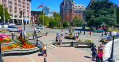 4K Government Street and Empress Hotel, Busy Tourists, Victoria Canada Stock Footage