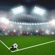 Stock Illustration of soccer ball on the green field corner