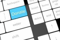 Donate key word on computer keyboard, Stock Illustration