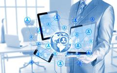 Business man using tablet pc and smartphone social connection Stock Illustration