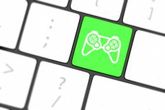 computer keyboard with  icon game pad - stock illustration