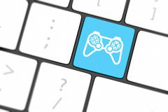 Computer keyboard with  icon game pad Stock Illustration