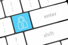 Enter button with closed padlock on computer keyboard background Stock Illustration