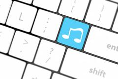 computer keyboard with icon music - stock illustration