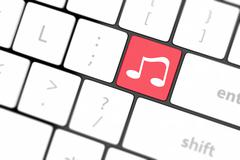 Computer keyboard with icon music Stock Illustration