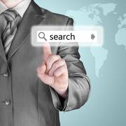 Businessman pushing virtual search bar Stock Illustration