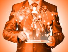 Business man using tablet pc social connection Stock Illustration