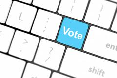 vote button on computer keyboard showing internet concept - stock photo