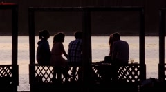 Stock Video Footage Orgy in the gazebo on the shore Stock Footage