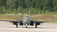 Vampire DH-100 jet, taxiing, 4k Stock Footage