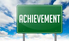 Stock Illustration of Achievement on Green Highway Signpost.