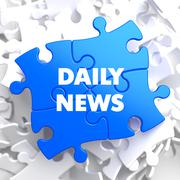 Daily News on Blue Puzzle. - stock illustration
