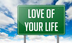 Stock Illustration of Love of Your Life on Green Highway Signpost.