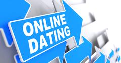 Online Dating on Blue Direction Arrow Sign. - stock illustration