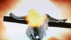 Sun exploding behind Jesus Christ statue Stock Footage