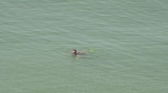 Lone swimmer in middle of sea, HD Stock Footage